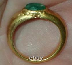 21mm Rare Ancient Roman Gold Ring with Green Stone, 1800+ Years Old, #S2430