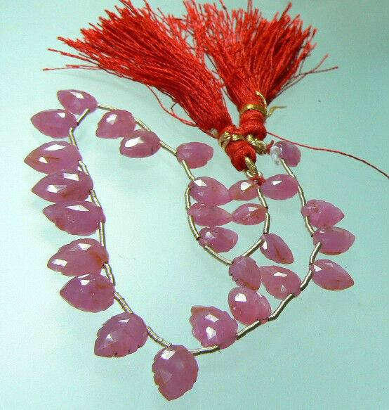 27 Rare 100% Natural Faceted Gem Pink Sapphire Briolette Leaf Beads 65ct