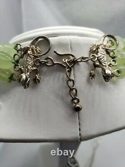 2 TWO BLONDE LIZZARDS white green stone Necklace Lizard vintage RARE