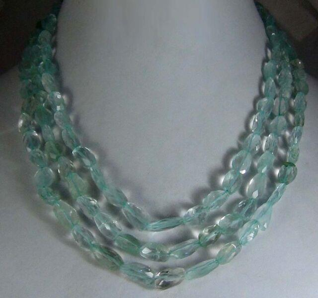 378cts Natural Aquamarine Faceted Tumble Gemstone Necklace Rare Exclusive Beads