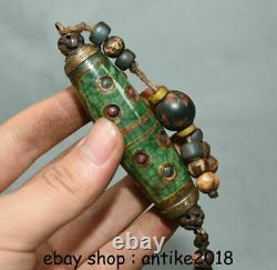 3.8Rare Old Tibet Buddhism Agate Inlay Gem Many Eyes dzi bead Pendant Amulet A4