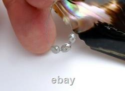 3 AAAAA+ RARE GENUINE GEM DIAMOND FACETED OVAL BEADS SPARKLING SILVER 1.40cts