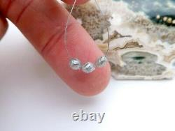 3 AAAAA+ RARE GENUINE GEM DIAMOND FACETED OVAL BEADS SPARKLING SILVER 1.65cts