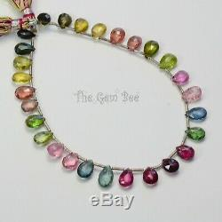 42CT Rare Gem Grade Tourmaline Faceted Pear Briolette Beads 8.8 inch strand