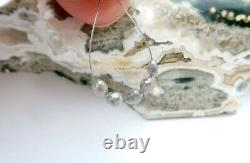 5 AAAAA+ RARE GENUINE GEM DIAMOND FACETED OVAL BEADS SPARKLING SILVER 1.50cts