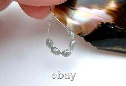 5 AAAAA+ RARE GENUINE GEM DIAMOND FACETED OVAL BEADS SPARKLING SILVER 1.90cts