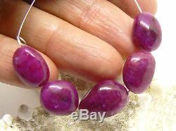 5 RARE NATURAL UNTREATED PURPLE RED RUBY NUGGET BEADS 49.75cts SUPERB 12-15mm