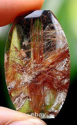 6.7g Natural transparent Rare Gold Rutilated Quartz Crystal Powerful Pendant