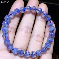 7.2mm Natural Blue Dumortierite Rutilated Quartz Beads Women Rare Bracelet AAAAA