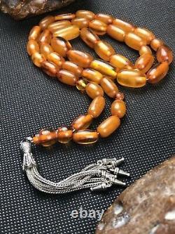 +80yr Super Rare Antique Russian STONE Natural Baltic Amber Prayer Beads