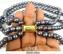 815 Cts AAA Rare Rainbow Shine Tahitian Pearl Beaded 3 Strand Necklace 18
