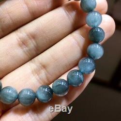 8.2mm Rare Natural Blue Rabbit hair Quartz Crystal Round Beads Bracelet AAAA