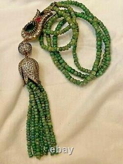 925 Silver Long Emeralds Ruby and CZ Necklace Antiqued Tulip RARE FANCY