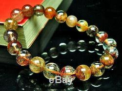 9MM Rare 3A Natural Golden Flower Rutilated Quartz Round Bracelet GIFT BL1887c