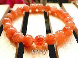 9MM Rare 5A Natural Golden Sunstone Gemstone Round Stretch Bracelet GIFT BL8761d