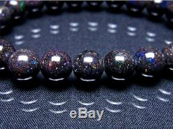 9MM Rare 7A Hight class Natural Black opal Round Stretch Bracelet GIFT BL9433c