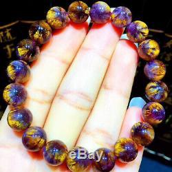 9.2mm Genuine Natural Starlight Auralite Crystal Beads Rare Bracelet AAAA