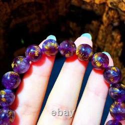 9.6mm Genuine Natural Auralite Crystal Beads Rare Bracelet AAAA