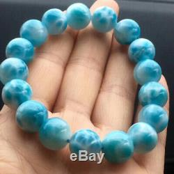 AAAA12MM Natural Blue Ice Larimar Rare Dominican Round Beads Jewelry Bracelet