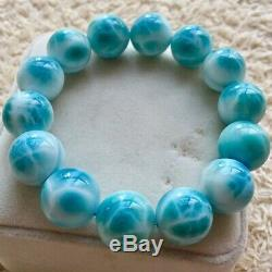 AAAA16.5MM Natural Blue Ice Larimar Rare Dominican Round Beads Jewelry Bracelet