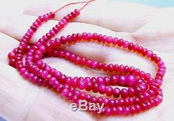 AAA RARE TOP GRADE GORGEOUS NATURAL RED RUBY RONDELLE BEADS 3-5mm 47cts 16