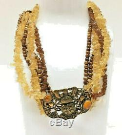AMY KAHN RUSSELL Necklace Sterling Citrine Amber Freshwater Pearl 5-Strands RARE