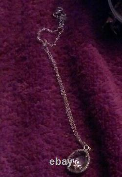 AUTHENTIC PANDORA BEZEL LITE PINK GEMSTONE With 18 INCH Necklaces RARE FIND