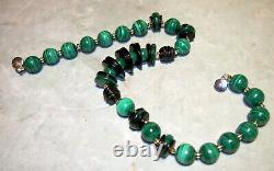 A Malechite & Black Onyx Bead Rare 14k Gold Necklace 249 Gr-l=20.75-dia=16.24m