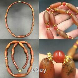 Ancient Antique Rare Roman Old Carnelian Agate Stone Beads Beautiful Necklace