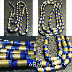 Ancient Rare Lapis Lazuli stone beads gold plted wrapped 65 pieces