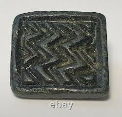 Ancient Rare South East Asian Black Stone Buddhist Amulet Stamp Seal Bead