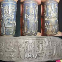 Ancient Rare Unique Lapis lazuli stone Ciylender seal intaglio Bead # 44