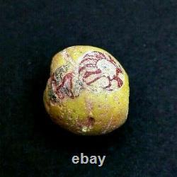 Ancient Roman Egyptian Bead Flower Antique Amulet Artifact Rare Beauty Genuine