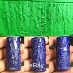 Ancient Sassanian Old Lapis Lazuli Stone Wings King Horse CylinderSeal Rare Bead