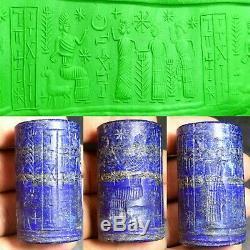 Ancient Sassanian Rare Old Lapis Lazuli Stone Writing Kings CylinderSeal Bead