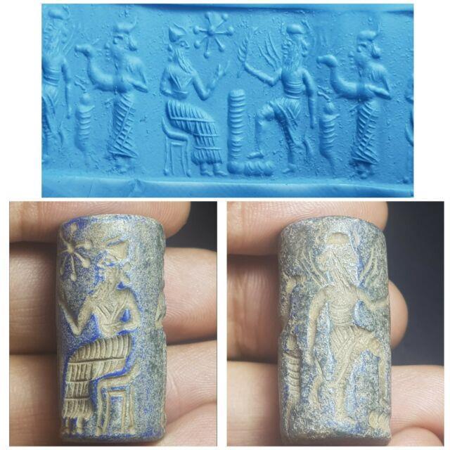 Ancient Near Eastern Cylinder Seal Bead Rare Lapiz Stone Cylinderseal Bead