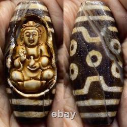 Ancient rare Tibetan dzi eyes agate carved with buddaha scarce bead