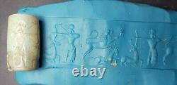 Ancient sassanian king historical hunting scene cylinderseal rare agate bead#17