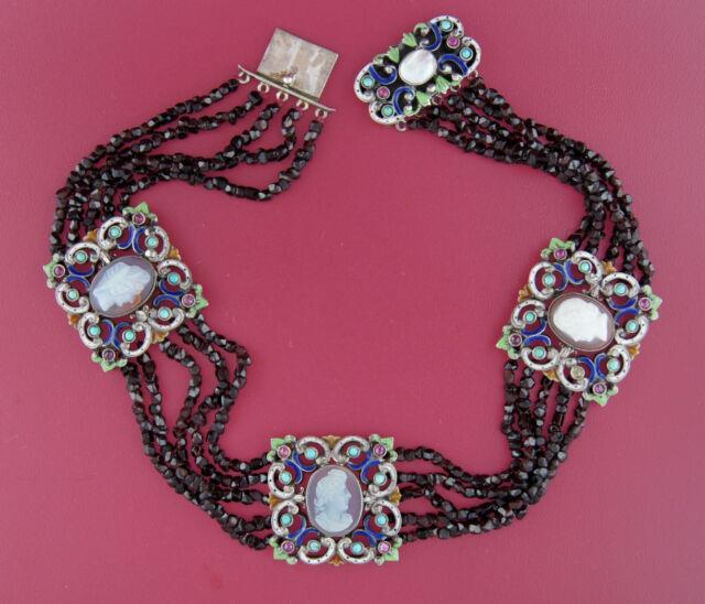 Antique 3 Cameo Medallions On 5-strand Garnet Bead Choker Necklace Rare! Chic