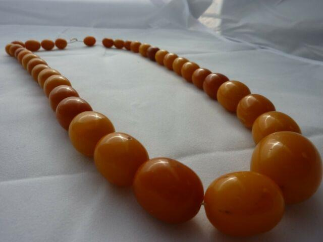 Antique Butterscotch Baltic Amber Beaded Necklace 66 Grams Rare
