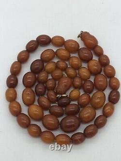 Antique Egg yolk Natural Baltic Amber Beads Necklace. Rare