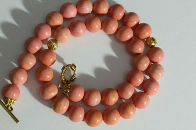 Antique Genuine Coral Hand Carved Organic Rare Round Authentic Necklace Beads