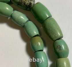 Antique Hubei turquoise Barrel beads Rare Collectibles 2 Strands