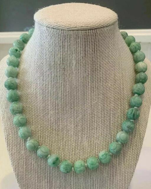 Antique Jade Carved Dragon Bead Chinese Necklace Estate Lot Rare Apple Green
