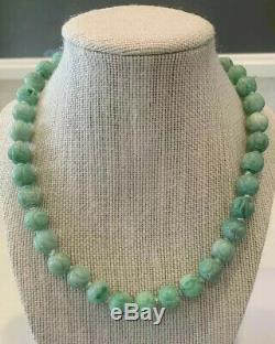 Antique Jade Carved Dragon Bead Necklace Estate Lot RARE Apple Green 14k