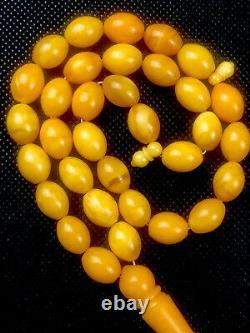 Antique ONE STONE White Baltic Amber Prayer Beads S. RARE