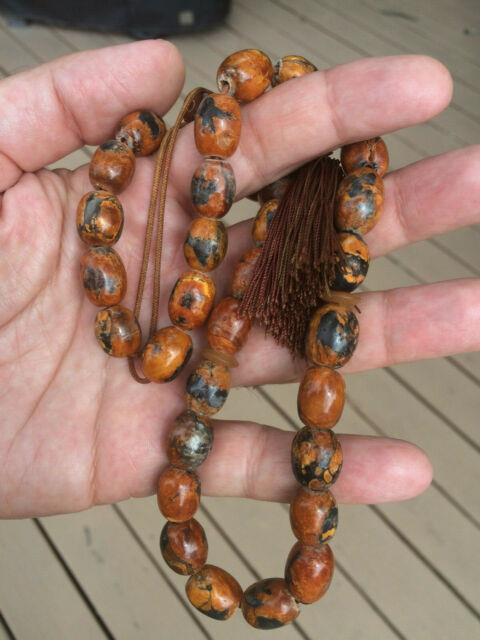 Antique One Stone Rare Natural Amber Islamic Prayer Beads Kahraman Komboloi