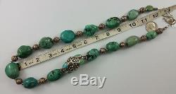 Antique Rare Tibetan Turquoise Stone & Repousse Silver Bead Necklace