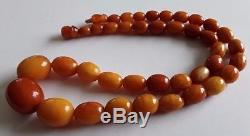 Antique Vintage Rare Baltic Amber Olive 1920c Beads Necklace