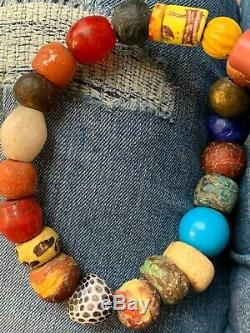 Antique strand of African trade beads and stones rare find